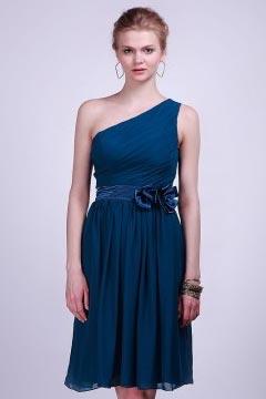 Robe bleue suele épaule ruban demoiselles d'honneur ruchée mousseline