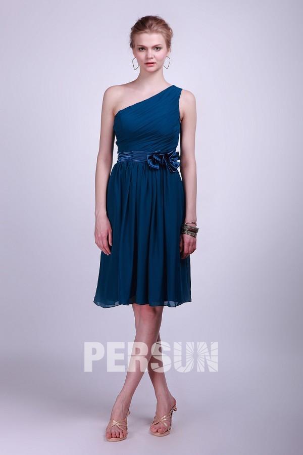 Robe bleu suele épaule ruban demoiselles d'honneur ruchée mousseline