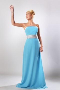 Robe bleue longue bustier pour demoiselles d'honneur en mousseline