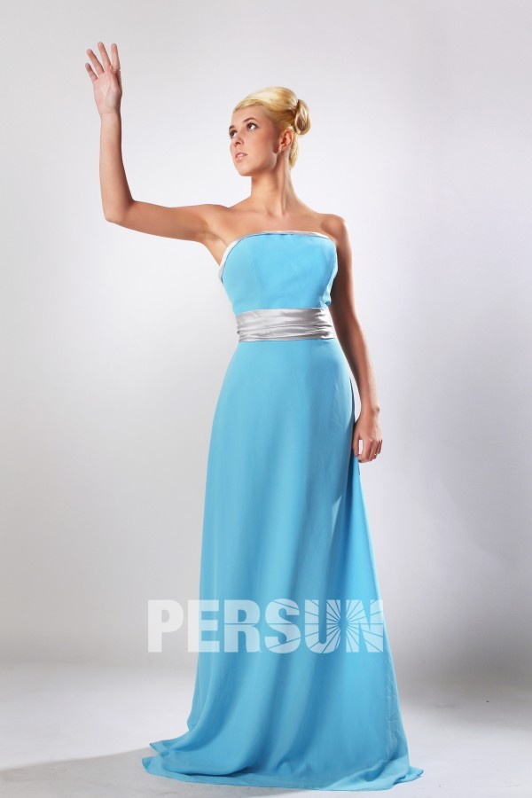 Robe bleu longue bustier pour demoiselles d'honneur en mousseline