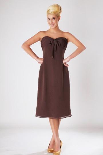 Robe marron courte pour demoiselles d'honneur bustier mousseline
