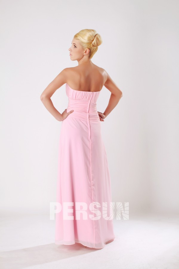 robe cocktail de mariage rose empire longue dos nu