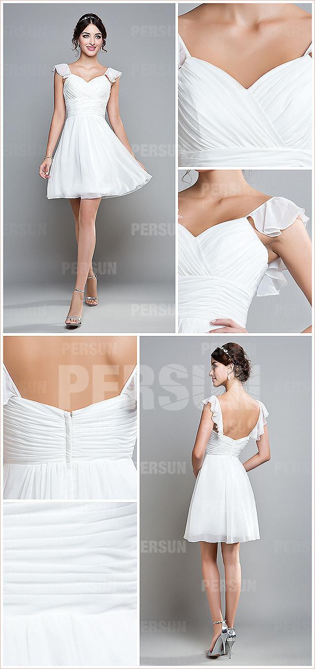 Robe blanche courte pour demoiselle d'honneur bustier plissée à dos échancré en U à mancherons en mousseline
