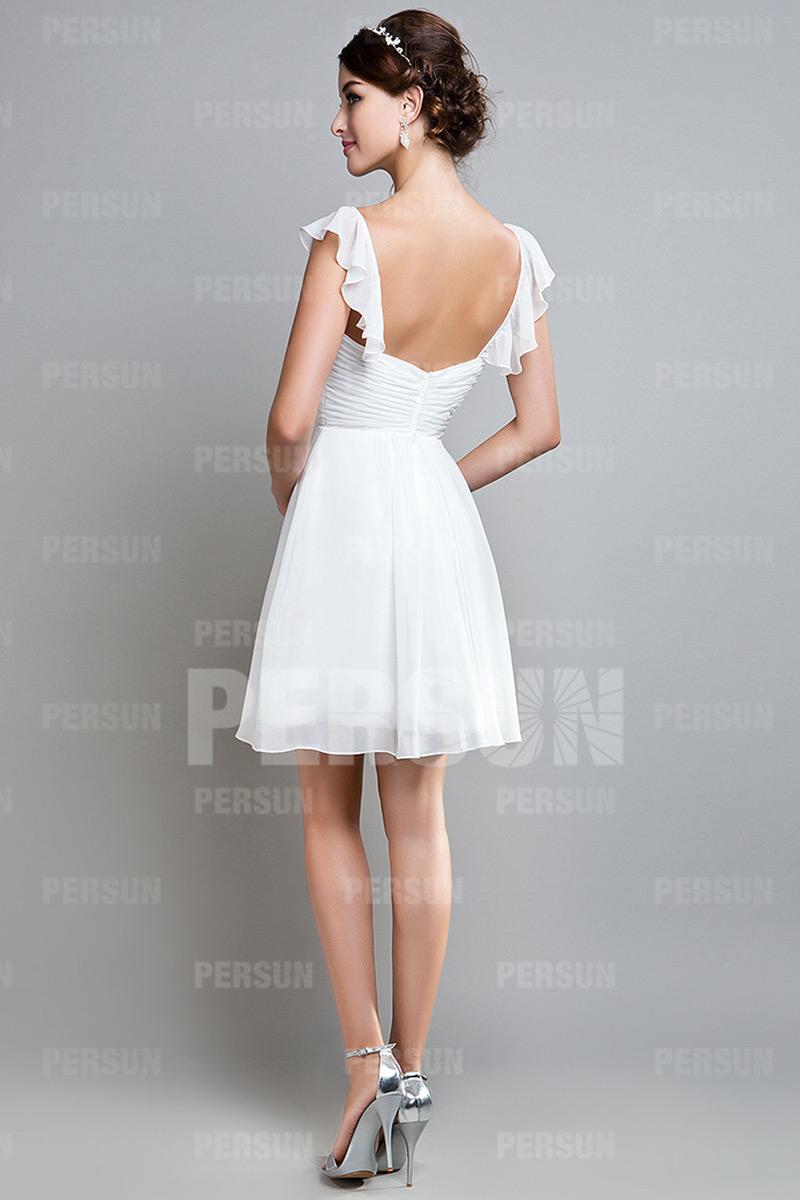 Mini robe à mancherons en mousseline pour cortège mariage