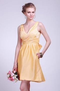 Robe demoiselle d'honneur en taffetas jaune avec nœud papillon au dos