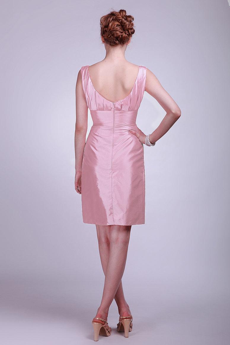 Robe courte plissée vintage empire à encolure en U avec fleur