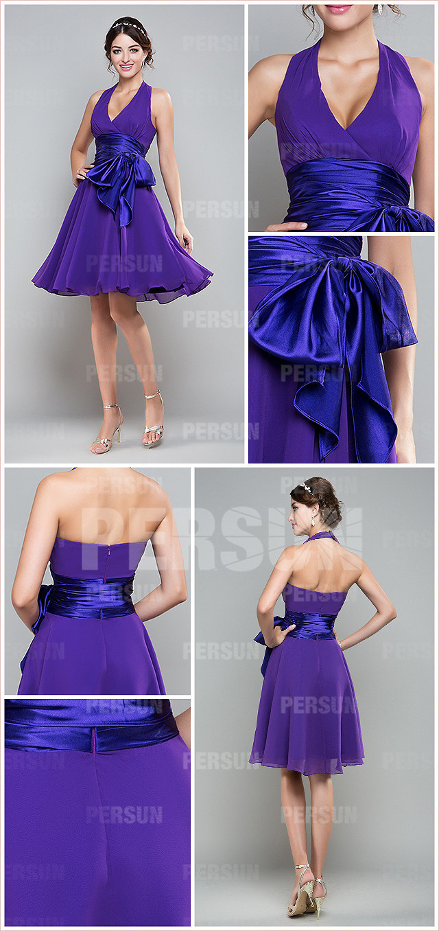 magnifique robe violette à col halter ornée de ruban pour cortège mariage