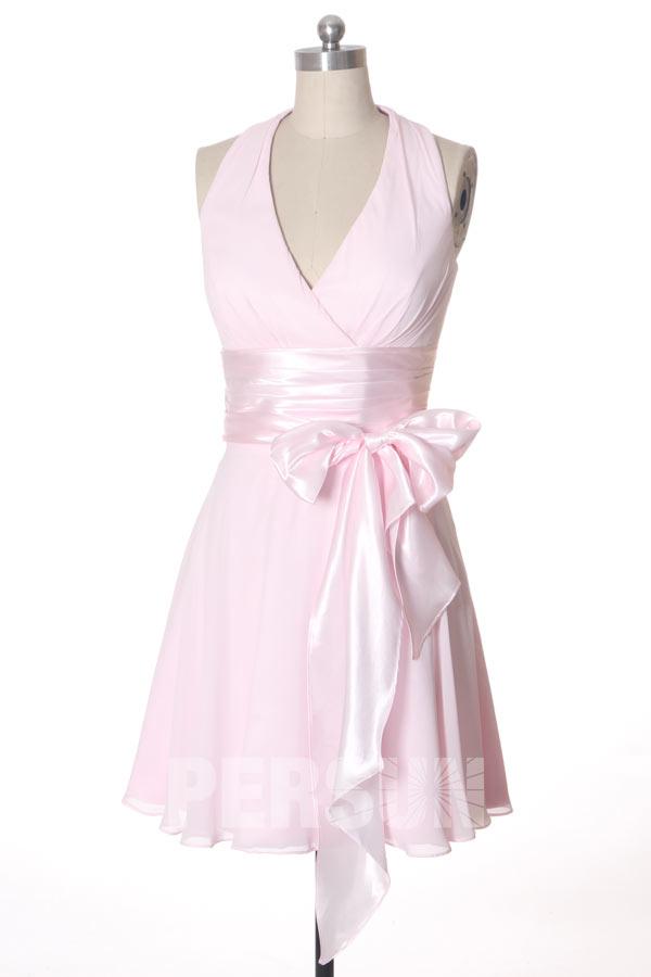 Robe rose courte empire pour cortège mariage à col américain