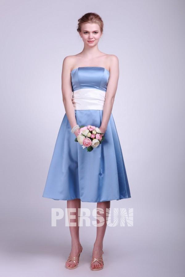 Robe demoiselle d'honneur grande taille bustier satiné bleu taille blanche au ras de genou