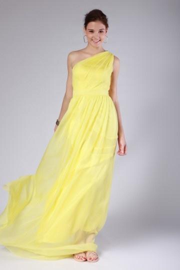 Robe d'été pour demoiselle d'honneur jaune en mousseline asymétrique plissés
