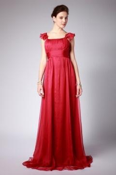 Robe demoiselle d'honneur rouge en mousseline à bretelle en mancheron