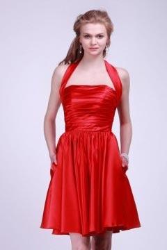 Robe demoiselle d'honneur courte à col américain Ruchées plissés en satin rouge