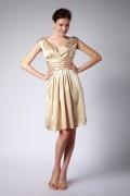 Robe demoiselle d'honneur dorée à col V au ras des genoux