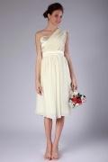 Elegantes Knielanges A-Linie Ein Schulter Brautjungfernkleider aus Chiffon