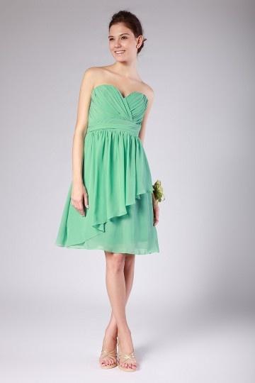 robe cérémonie mariage verte courte bustier coeur ruché