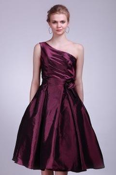 Rose-Croix robe de demoiselle d'honneur ruchée une épaule fleur en taffetas