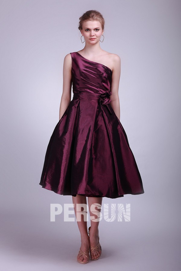 robe de cocktail mi-longue simple violette asymétrique plissé