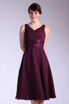 Rose-Croix Robe de demoiselle d'honneur en mousseline prune mi-longue