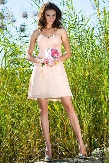 Rose-Croix robe de demoiselle d'honneur courte ruchée bretelles en mousseline