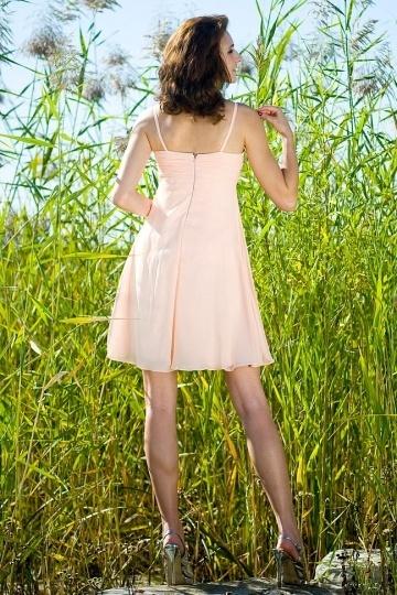 df0b0268771 Rose-Croix robe de demoiselle dhonneur courte ruchée bretelles en ...