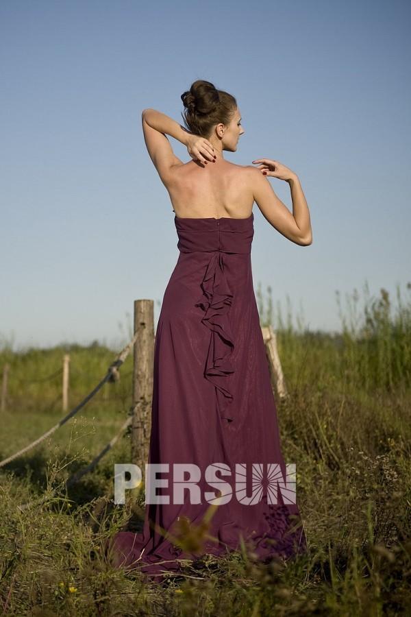 Robe demoiselle d'honneur en mousseline sans bretelle ornée de fleur
