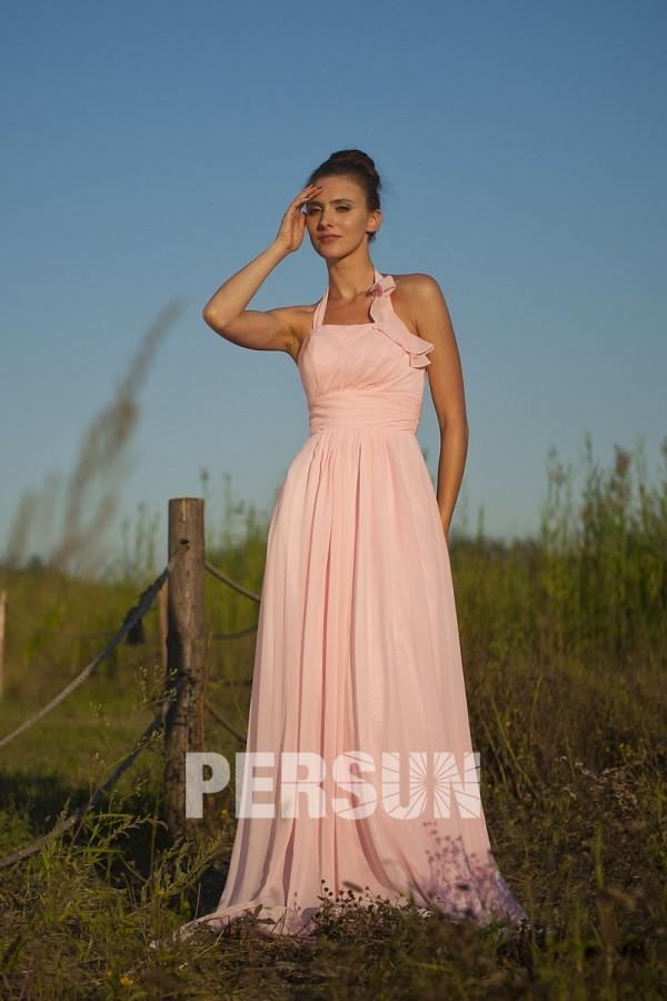 07e544b9729 Simple robe mousseline pastel empire à col halter pour cortège mariage