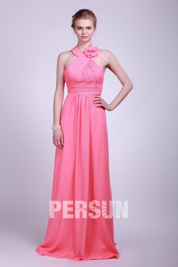 Robe demoiselle d'honneur sexy en mousseline rose appliquée au ras du sol