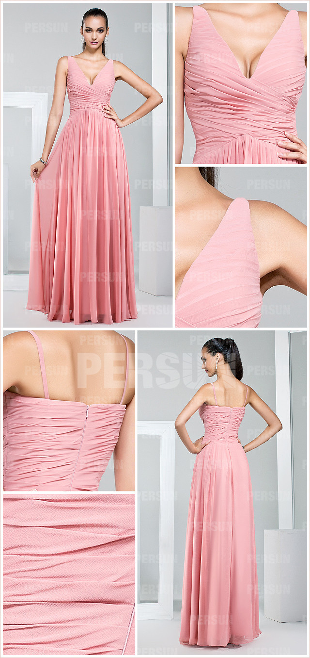 Robe rose pastel longue col V pour demoiselle d'honneur en mousseline