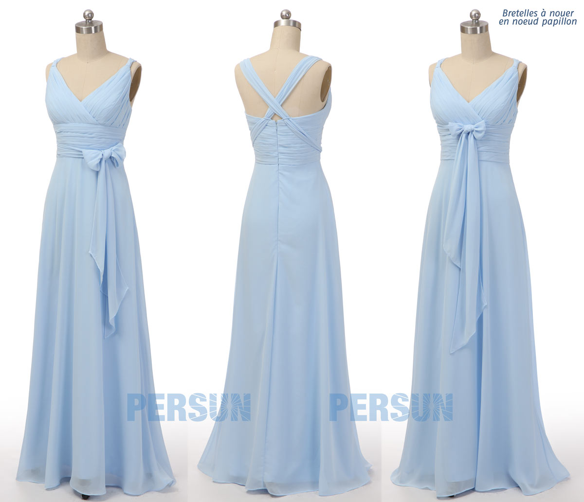 robe demoiselle empire longue bleu clair mousseline à noeud papillon