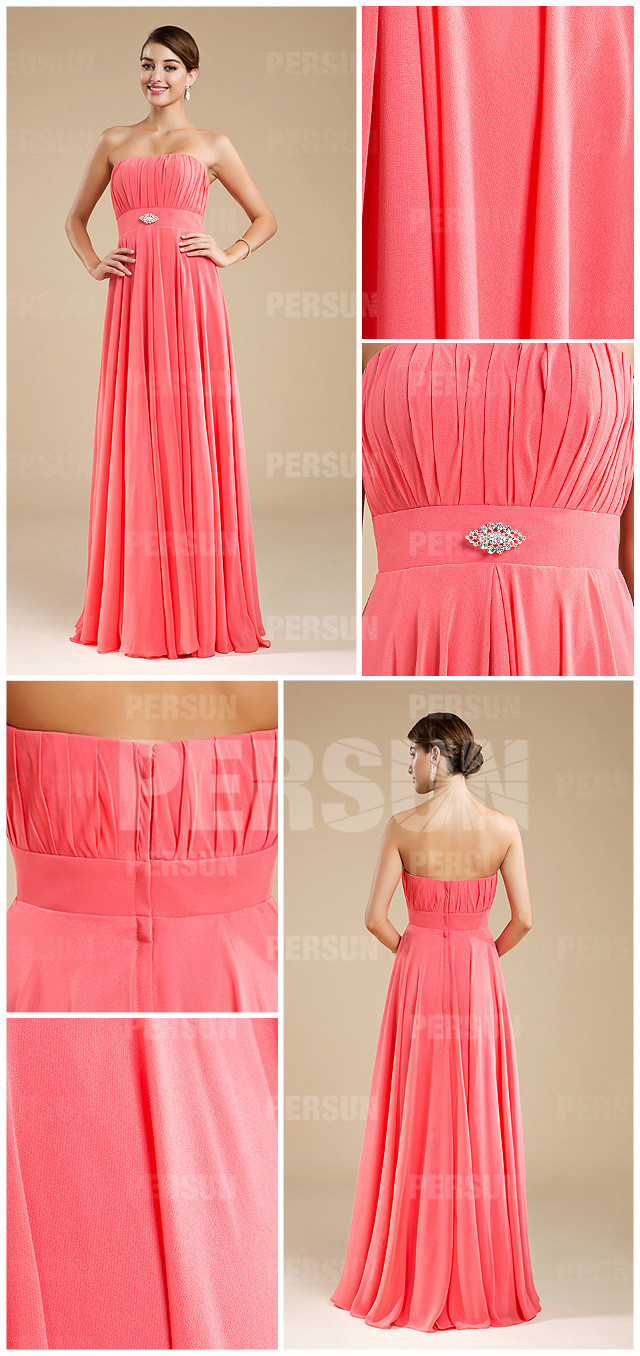 Robe corail bustier droit plissée longue simple empire en mousseline