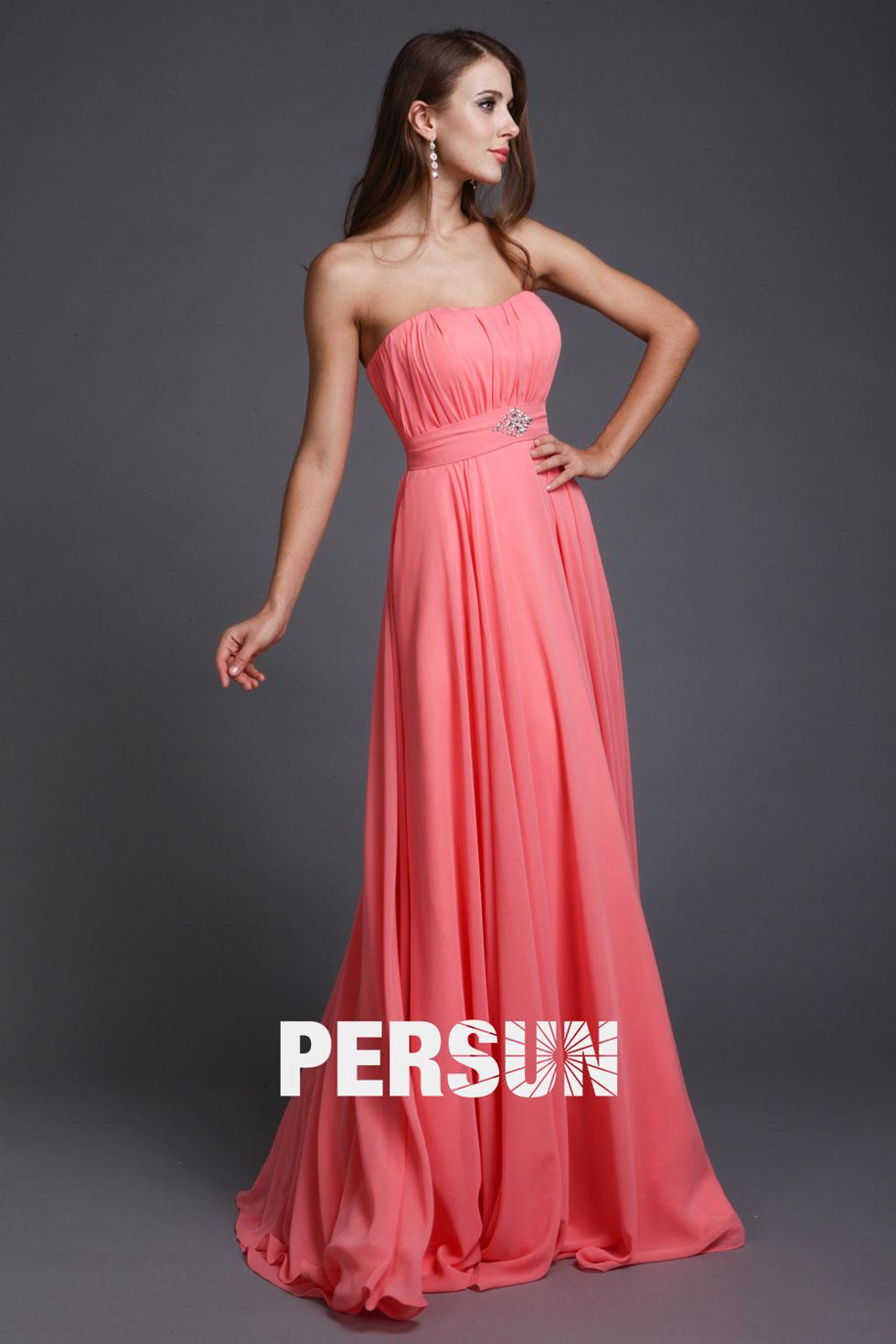robe de soirée simple longue living corail bustier plissé embelli de bijoux
