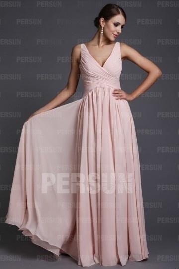 Robe Empire rose pour soirée longue simple en mousseline – Persun.fr 83a2229b99aa