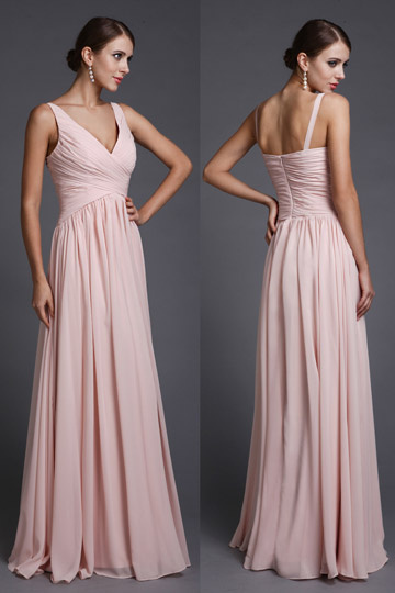 robe de soirée rose col en V empire pour invité enceinte