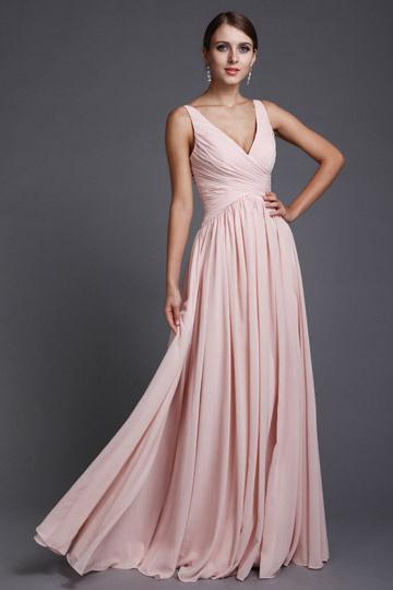 acheter populaire d35d7 e7c70 Robe Empire rose pour soirée longue simple en mousseline ...