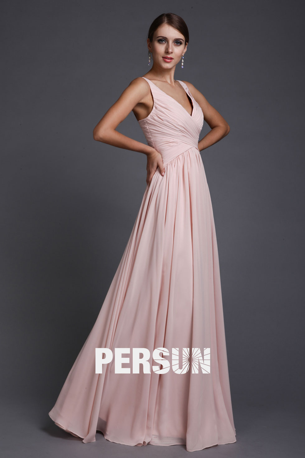 Robe soiree mousseline rose
