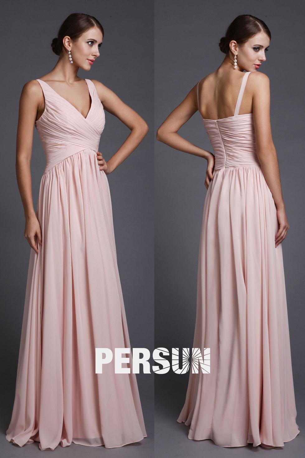 e41f98f0c87 Robe Empire rose pour soirée longue simple en mousseline – Persun.fr