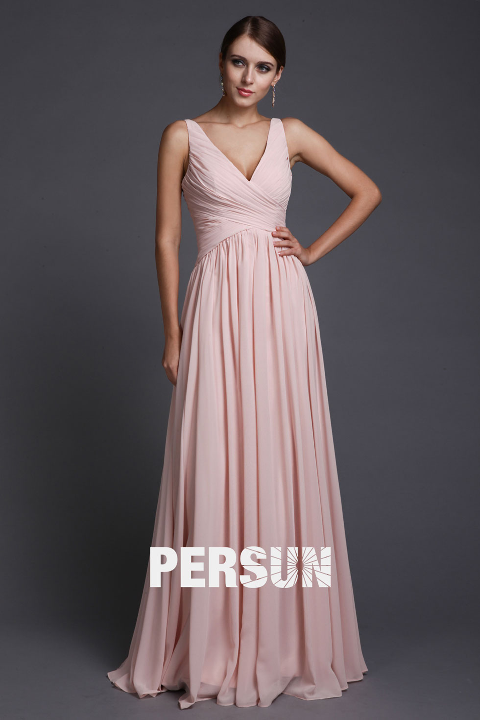 Robe Taille haut rose longue mousseline polyester
