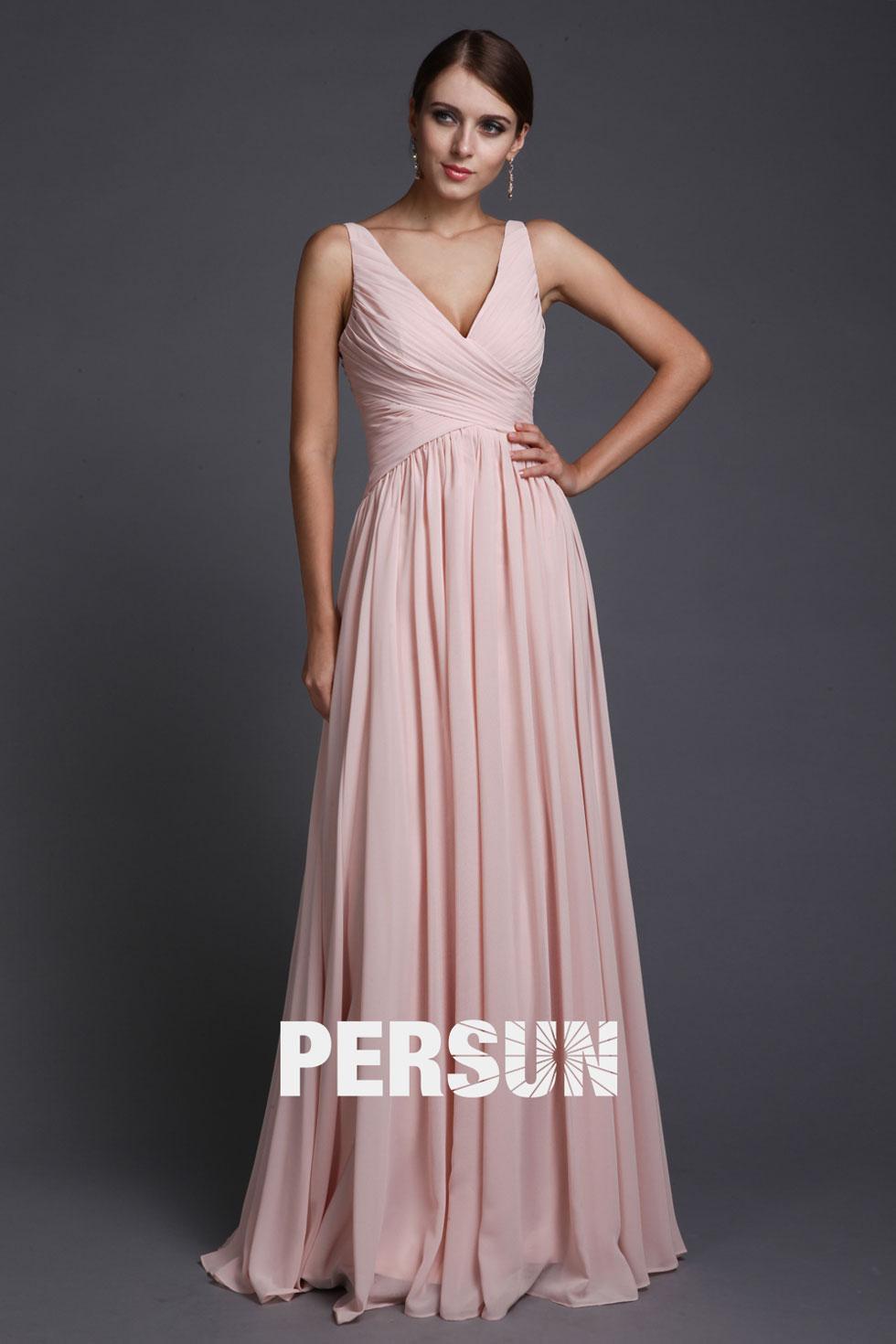 b0237e0f29b1a Robe Empire rose pour soirée longue simple en mousseline – Persun.fr
