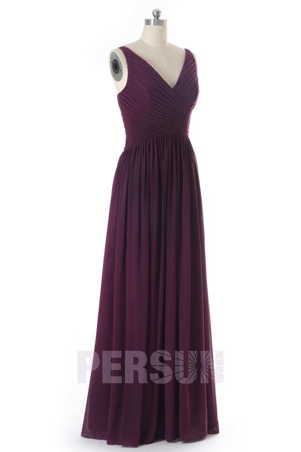robe demoiselle d'honneur prune simple bustier plissé col v