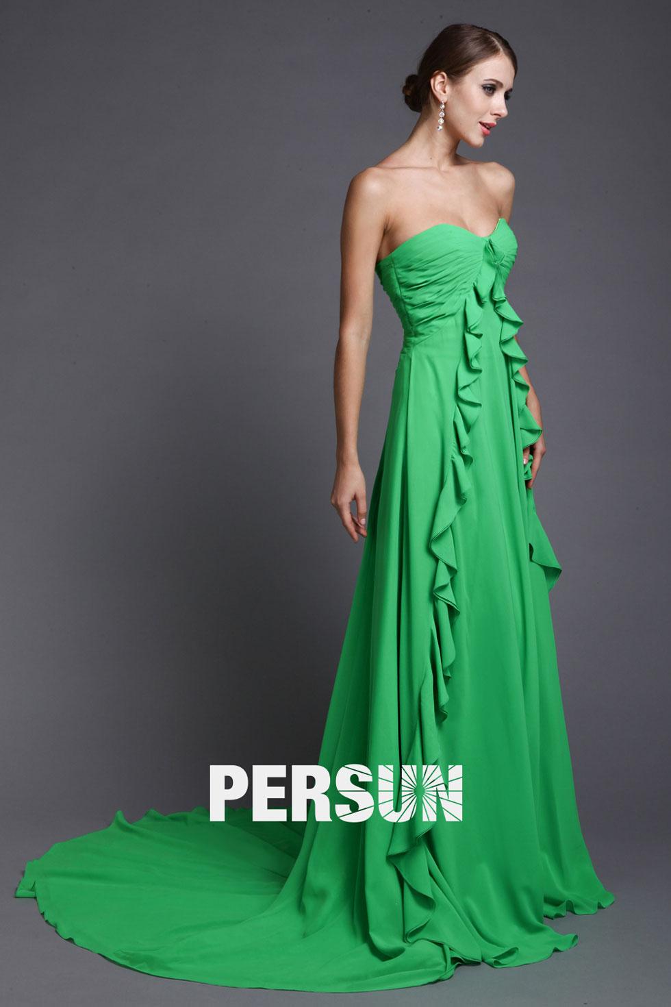Elégante robe verte longue bustier cœur empire à volants moussseline