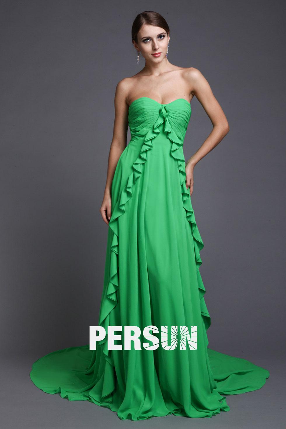 Robe verte demoiselle d'honneur bustier cœur plissée en mousseline