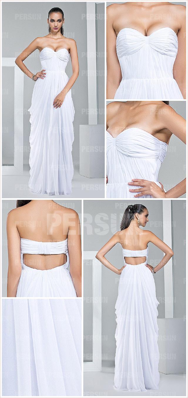 Robe blanche colonne bustier cœur empire ornée de plis en mousseline