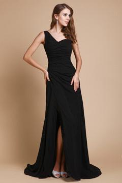 Robe fendue noire de soirée encolure asymétrique simple