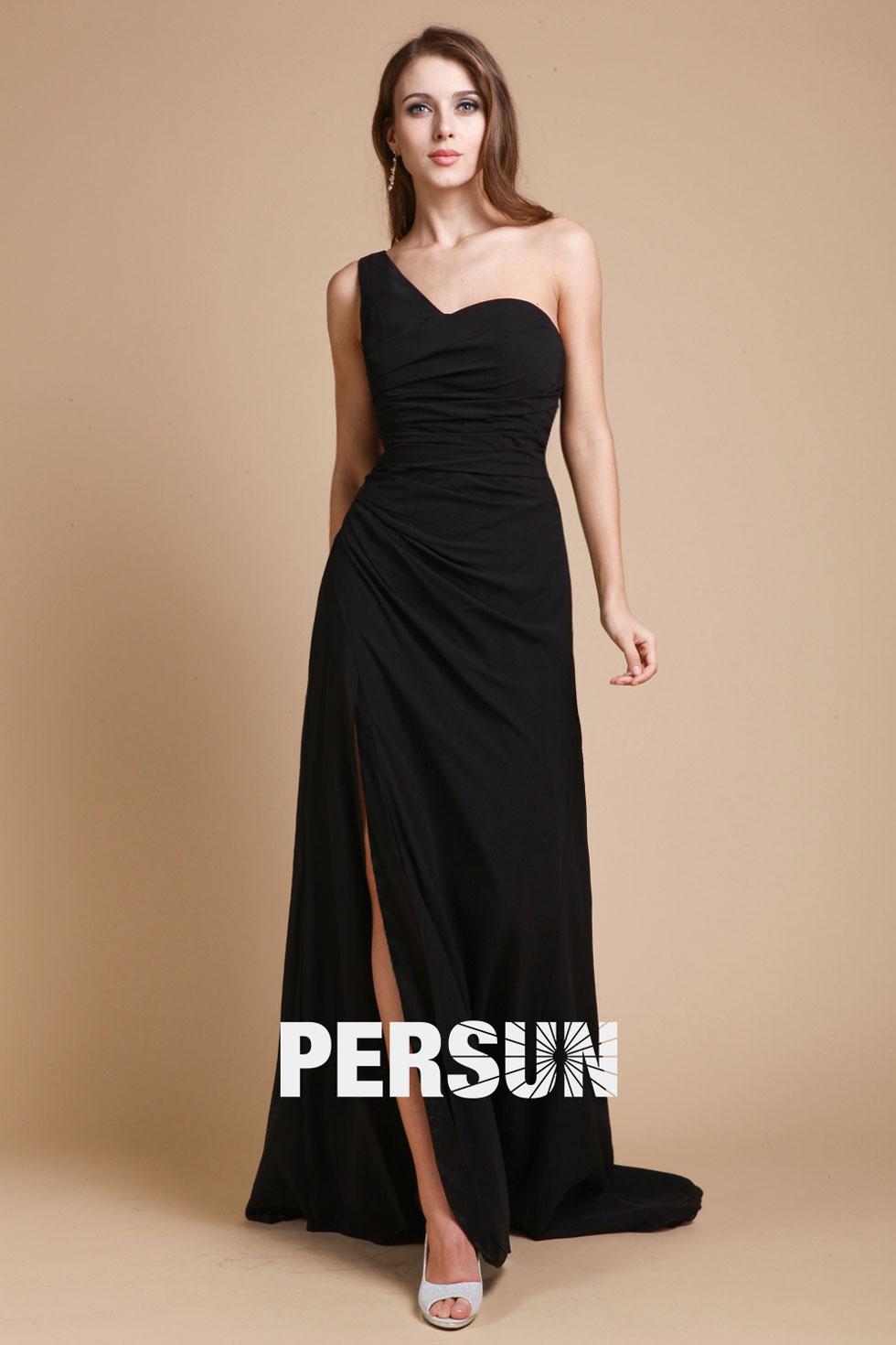 robe noire de soirée noire asymétrique mousseline