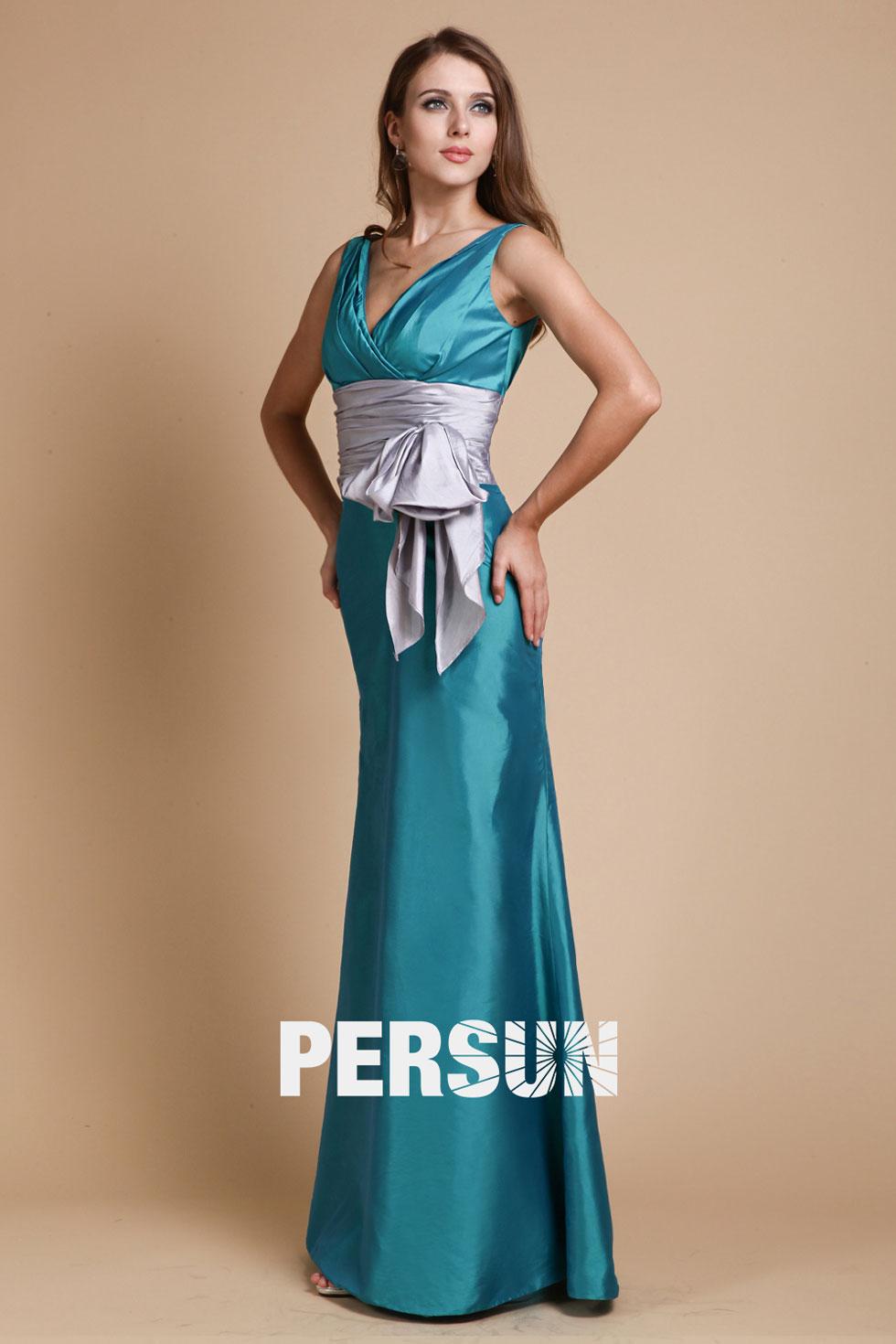 robe demoiselle d'honneur longue à ceinture argentée