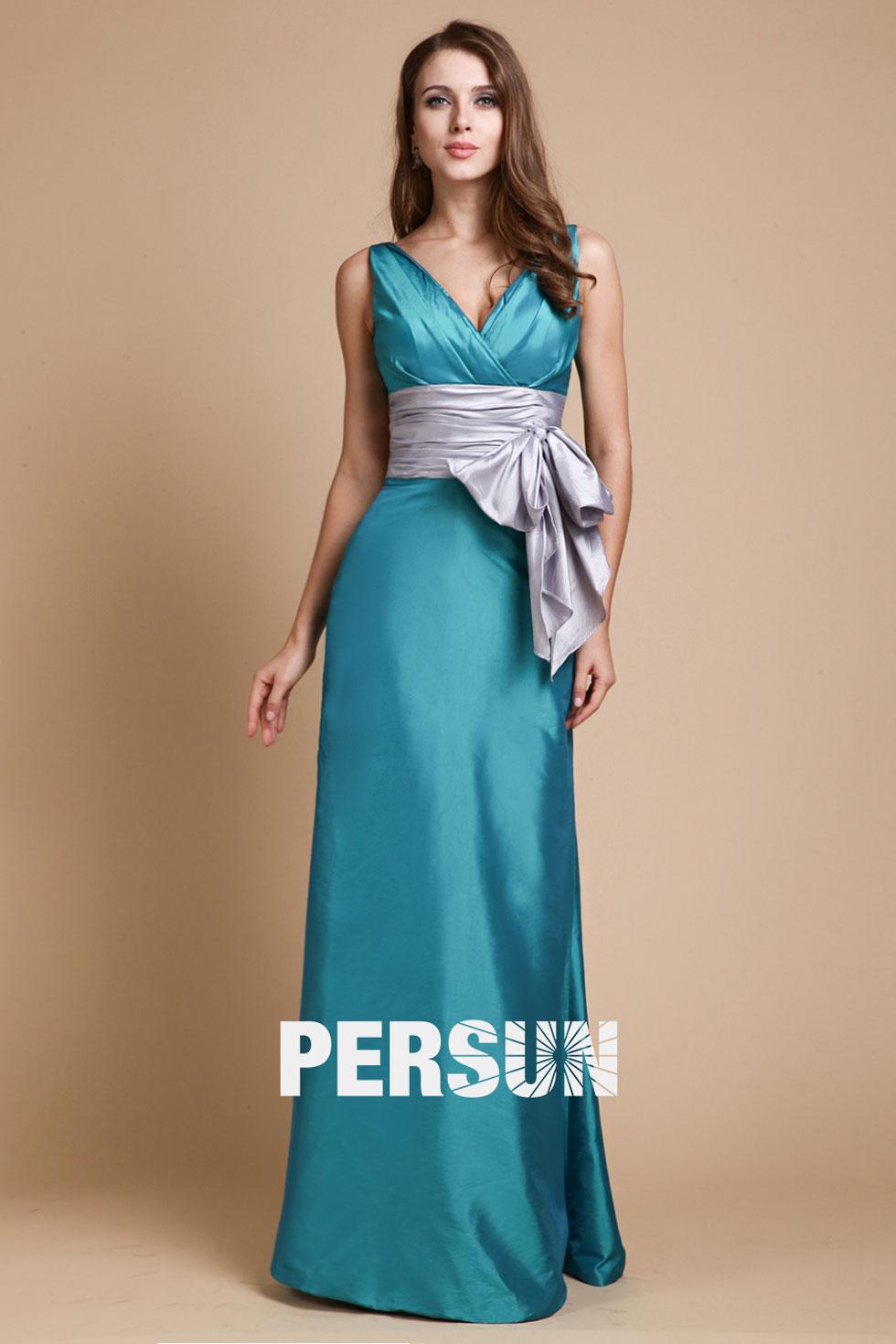 robe soirée bleu col v ceinturée de noeud papillon en satin