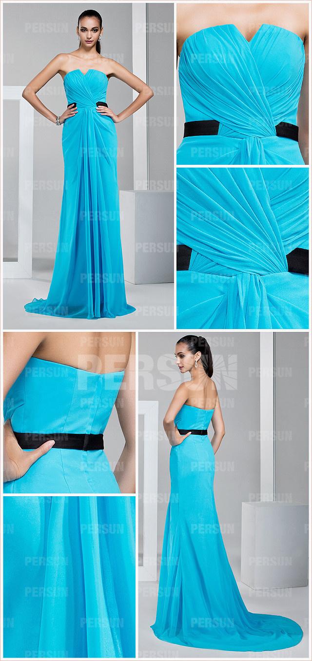 Robe bleu turquoise longue à encolure djellaba plissés en mousseline