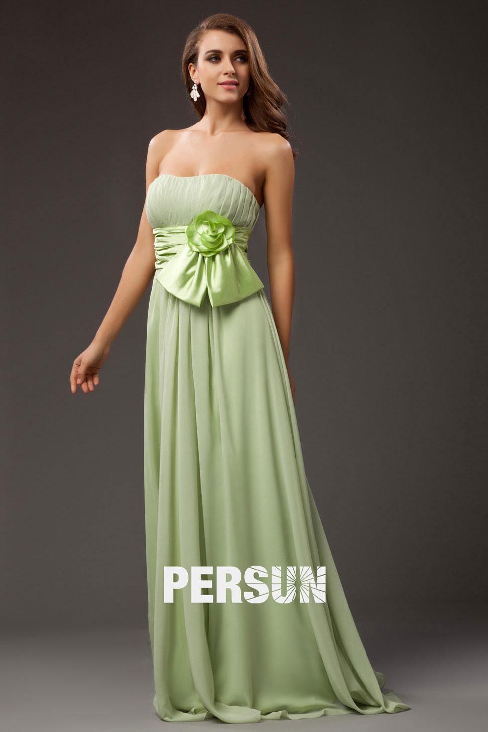 Robe longue mousseline verte