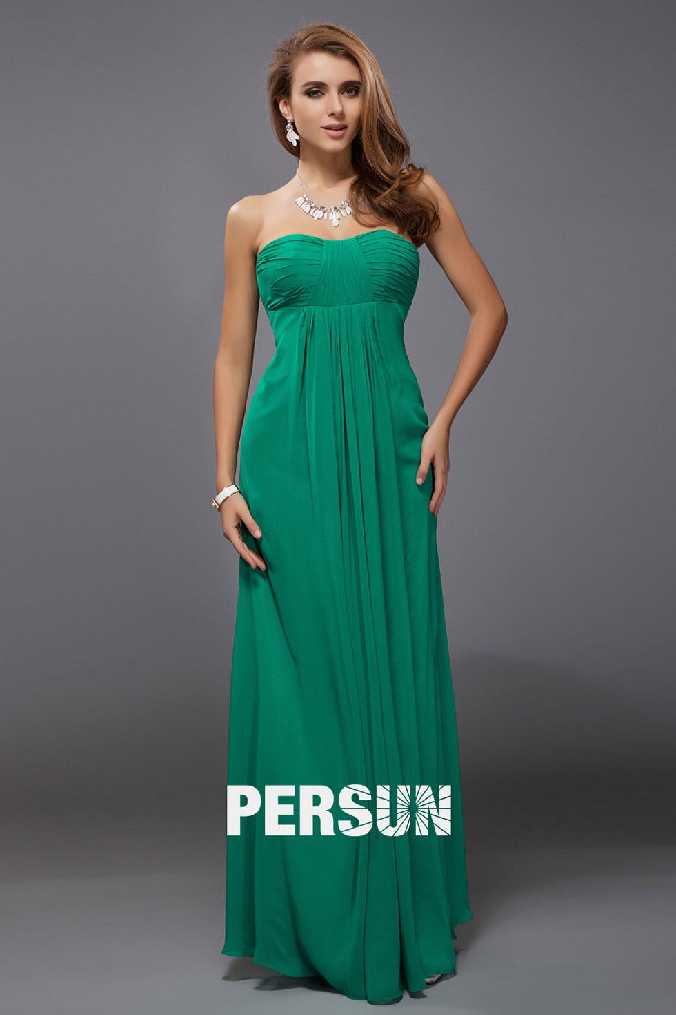 Simple robe verte plissée à bustier coeur empire longue pour soirée mariage