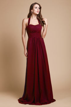 Robe longue prune encolure américain simple en mousseline